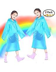 boonor Poncho de pluie Cape de pluie enfants 2Pc enfants Veste de pluie étanche pour enfants Manteau de pluie pour portable avec capuche et les manches