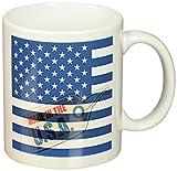 3dRose Made in The USA American Flag Blue Art Ceramic Mug, 11-Ounce