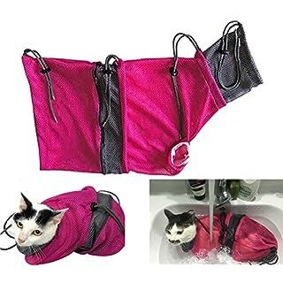 Alemon Fellpflegebeutel und Katzentunnel, pink/grau