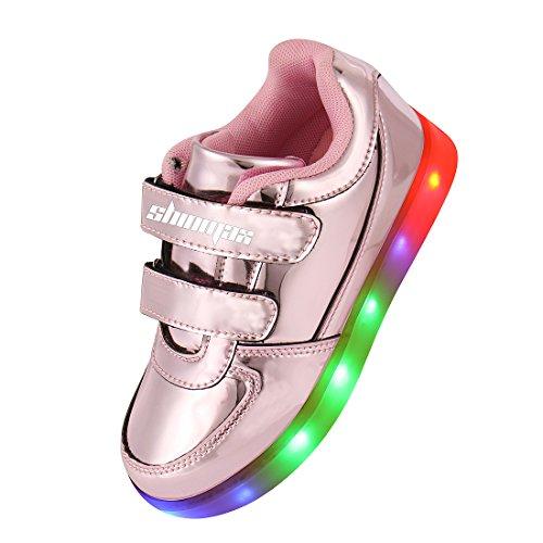 Shinmax Serie Oro Infanzia multicolore di ricarica USB Kid pattini casuali lampeggianti scarpe da tennis del ragazzo e ragazza per il compleanno del Ringraziamento Natale