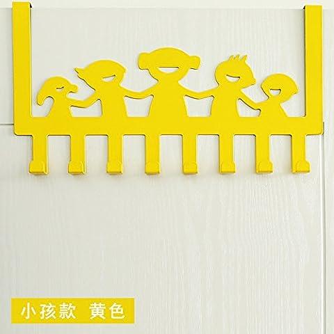 puerta de acero inoxidable minimalista después de ganchos no están libres de arañazos clavija puertas ganchos de percha dormitorio escudo perchas de puerta trasera, [Niños Felices - Amarillo]