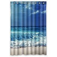 Paesaggio naturale. Cielo blu, mare, spiaggia. Nuvoloso mari. Acqua blu, trasparente Disegno Poliestere impermeabile bagno tenda della doccia 48