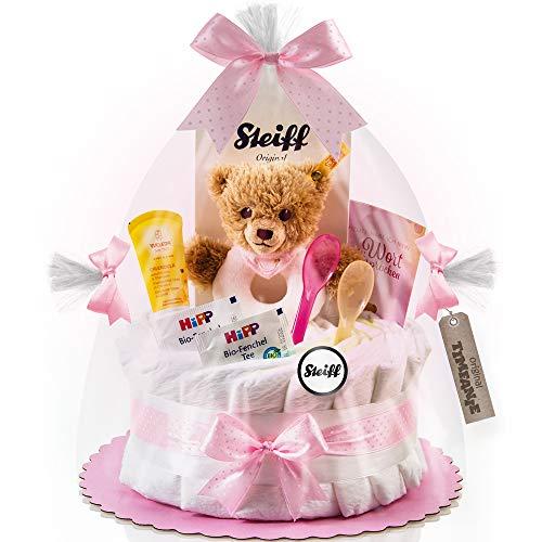 Timfanie® Windeltorte | Steiff Bärchen Rassel (1-stöckig rosa-punkt) | Windeln Gr. 2 (Baby 4-8 Kg)