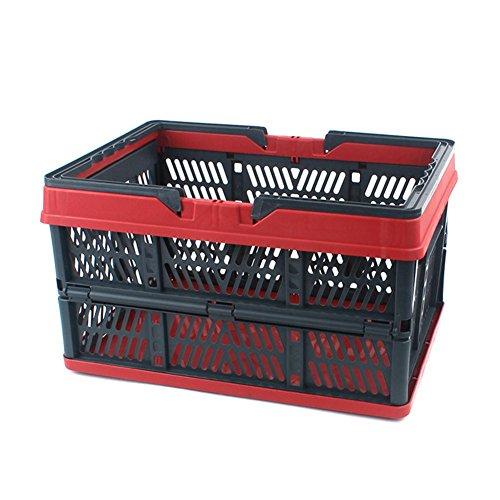 Outdoor Camping Picknick Fahrzeug Aufbewahrungsbox Korb PP Klapp Durable Supermarkt Einkaufen (2 pack) , red , 450x315x250mm