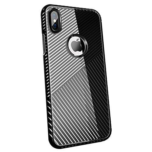 Streifen Xphone X Fall, Klar, iPhone X Cover für Apple 10Zelle I Telefon Luxus iphonex mit 2Displayschutzfolie aus gehärtetem Glas (Schwarz) Aiphone Audio
