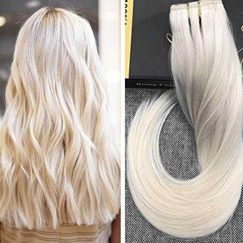 Ugeat 14 Zoll Clip in Extensions Echthaar Blonde #60 50g 3/4 Voller Kopf One Piece Clip on Human Hair Extensions Glatt Remy Brasilianisch Tressen