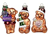 KI Store Vintage Christmas Tree Decorations Glass Hanging Xmas Teddy Bear Ornaments Classic Party Ornaments 3 pcs by Art Beauty (12 CM, Teddy Bear)