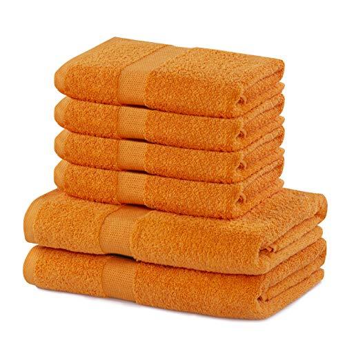DecoKing 6er Set Baumwolle Qualität 525g/m² 4 Handtücher 50x100 cm und 2 Badetücher 70x140 cm orange saugfähig Marina