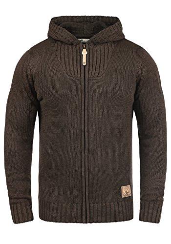 !Solid Penda Herren Strickjacke Cardigan Grobstrick Winter Pullover mit Kapuze, Größe:M, Farbe:Coffee Bean Melange (8973)