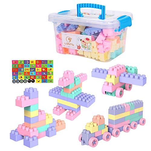 Bausteine Kinderspielzeug Bauklötze mit Aufbewahrungsbox Steckbausteine Spielzeug Kinder Jungen Mädchen Konstruktionsspielzeug Lernspiel Steckspiel Kunststoff Lernspielzeug Kinderspiel 150 Stück