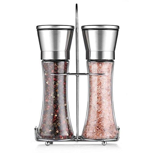 Cmxing Pfeffermühle Set mit Ständer Manuelle Gewürzmühle mit Mahlwerk aus Keramik Glas Salzmühle (Lange Art)