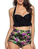 Angerella Sexy Taille Haute Dos Nu Bikini Maillot de Bain pour Femme Push Up Bathing Suit,Noir,2XL