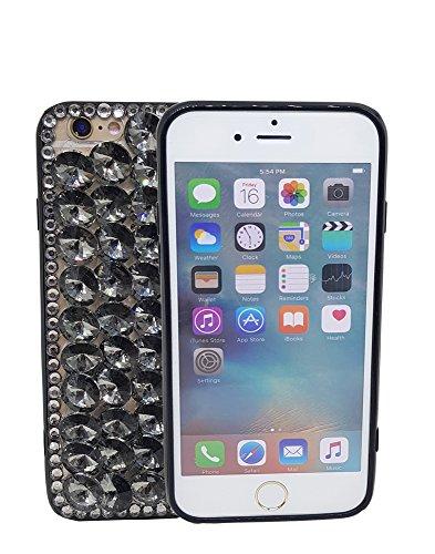 iPhone 711,9cm 3D Handgefertigt Luxus Glitzer Transparent Strass Fall Full Kristalle Diamond Cover. Bling Diamant Fall, Schwarz Full Diamond Bling Snap