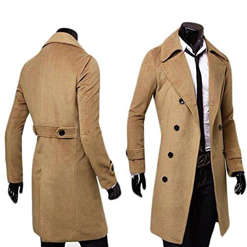 Ming Manteau de Laine à Double Boutonnage Longue Uni Slim Classique Homme Hiver(Taille Asiatique) Camel