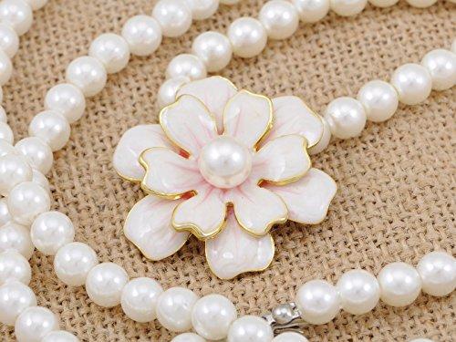 Single String Cream Faux Pearl Golden Tone Border Flower Pendant Necklace