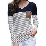 GJKK Bluse Damen Casual Patchwork Gestreifte Tasche Tops V-Ausschnitt Langarm T-Shirt Tops Oberteil Sweatshirt Langarmshirt