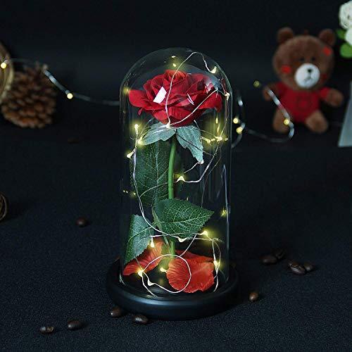 Kit de la Bella Bestia Rosa, Encantada Decorativo Artificial Rosa roja Luz LED en cúpula de Cristal - Regalos de graduación Su Aniversario de Boda Memoria (Caja de Regalo)