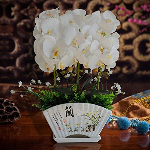 Jnseaol Kunstblumen Künstliche Blumen Orchidee Weihnachtsgeschenke Hotel Wohnzimmer Hochzeit Party Küche Haus Eine Große Dekoration Keramiktopf DIY Weiß -07