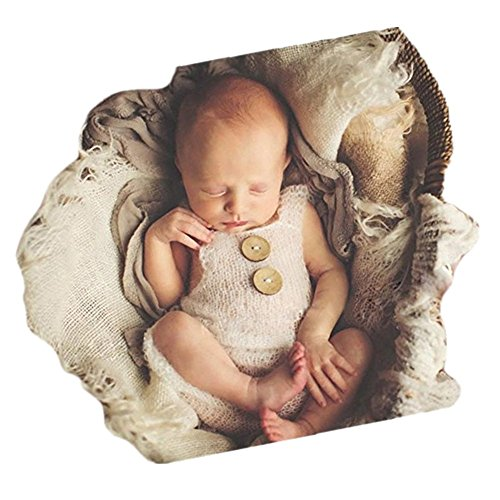 neugeborenen babyfotografie props kostüm Jungen Mädchen baby fotografieren fotoshooting set requisiten accessoire Strampler (White)