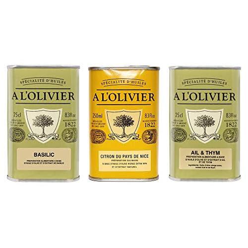 A Lolivier 3er Set Olivenle Olivenl Mit Basilikum Olivenl Mit Zitrone Olivenl Mit Knoblauch Thymian 3 X 250 Ml