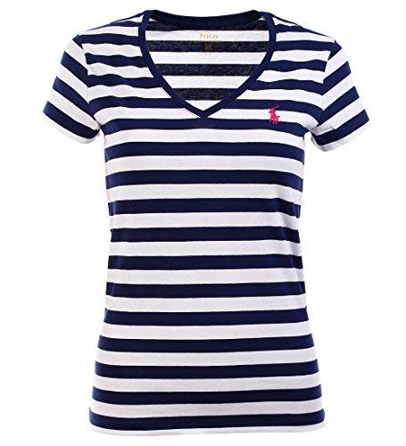 Polo Ralph Lauren Damen V-Neck Shirt T-Shirt dunkelblau-weiß gestreift Größe wählbar (XS) (Ralph Lauren Polo Xs)