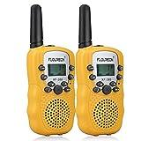 FLOUREON Walkie Talkies PMR Radio Ricetrasmittente 8 Canali Bambini Ricetrasmettitore LCD-Display , Giallo