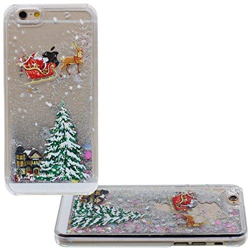 iPhone 6S Coque, Père Noël Arbre de Noël Style Motif Flowable Sable Liquide Eau Clair Transparent PC Plastique Dur Housse de protection Case pour Apple iPhone 6 6S 4.7 inch gris
