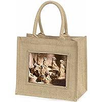 Meerkats Large Natural Jute Shopping Bag Christmas Gift Idea