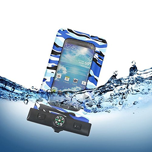 Blue Splash, Snap (CellularOutfitter Splash Guardz Camo Waterproof Case - Universal Fit, Dual Closure System w/ Velcro Strap and Lanyard - Blue)