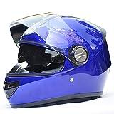 YUJIE Klapphelm Doppelklappvisier Motorradhelm Schwarz/Matt,Blue