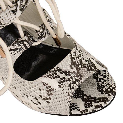 Damen Schnürstiefel High Heels Stiletto Evening Party Peep Toe Schuh Stiefel Größe Black White Snake