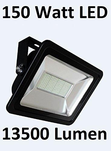 150 Watt LED Außenstrahler / Flutlicht, 120° Ausstrahlwinkel, Kaltweiß 6000 Kelvin, 13500 Lumen entspricht ~ 1250 Watt Halogenstrahler, Schutzklasse IP65 - Staub- und Strahlwasserdicht / Auch geeignet für Anschluss an Bewegungsmelder