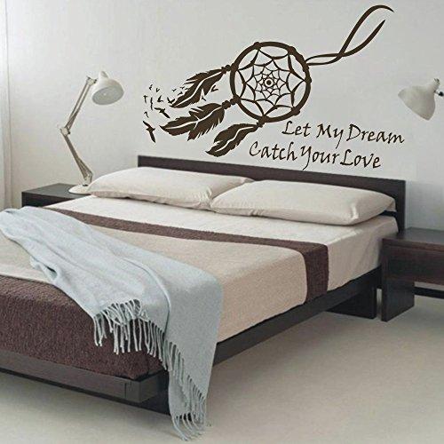 "MairGwall Dream Catcher nativa Plumas Mural Dormitorio Adhesivo para Pared Pared Adhesivo, Vinilo, marrón Oscuro, 50"" h x76 w"