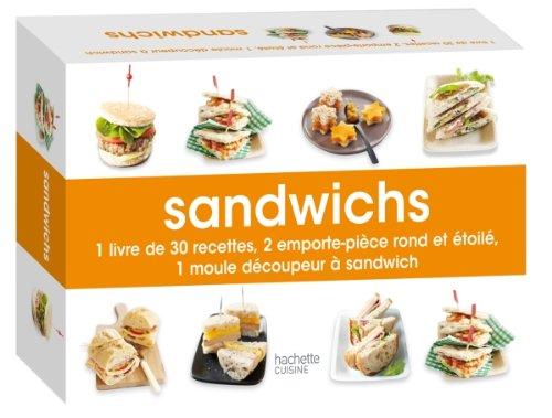 Coffret sandwichs : 1 livre de 30 recettes, 2 emporte-pièce rond et étoilé, 1 moule découpe-sandwich par Mélanie Martin