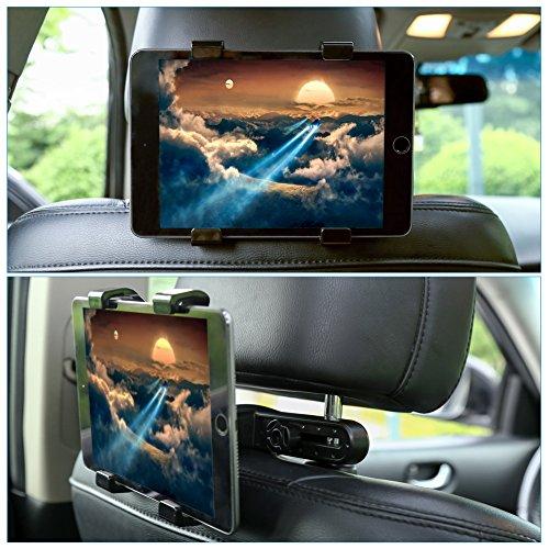 """GHB Supporto Tablet Auto Supporto Poggiatesta per iPad Tablet Auto Universale 7"""" a 10"""" Rotazione di 360° Nero"""