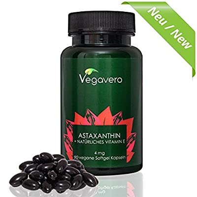 NEW: Premium Natural Astaxanthin (Hawaiian) + Vitamin E | 90 Vegan Softgels | Powerful Antioxidant Combination | Sourced from Haematococcus Pluvialis Algae | VEGAN by Vegavero by Vanatari International GmbH