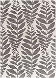 Carpetforyou Designer Moderner Kurzflor Teppich Fern Pflanzenmotiv Creme grau in 4 Größen für Wohnzimmer oder Schlafzimmer (120 x 170 cm)