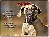 Merchandise for Fans Blechschild/Warnschild / Türschild - Aluminium - 20x30cm - mit Spruch - Motiv: Dogge Harlekin Dogge Deutsche Dogge - 04