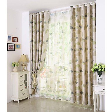 """Mzmz Warm proteggere & Noise Reducting One panel Green Leaf stampa tenda oscurante, Double Pleated-W55"""", Double Pleated-W55"""""""