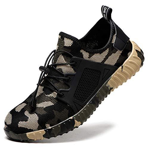 Camouflage Scarpe Antinfortunistica Antiscivolo con Punta in Acciaio, Sneaker da Lavoro Cantiere per Uomo Donna, Antinfortunistiche di Sicurezza Leggere