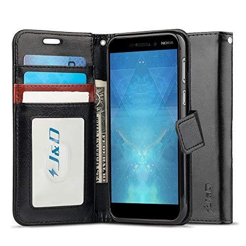 J & D Nokia 6 2018 Hülle, Nokia 6.1 Hülle, [RFID Blocking Standfuß] [Slim Fit] Robust Stoßfest Aufklappbar Tasche Hülle für Nokia 6 (Release in 2018), Nokia 6.1 - [Nicht für Nokia 6 2017] - Schwarz