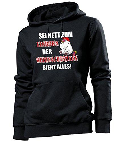 Golebros Sei nett zum Einhorn der Weihnachtsmann Sieht Alles 5970 Unicorn Damen Hoodie Schwarz ()