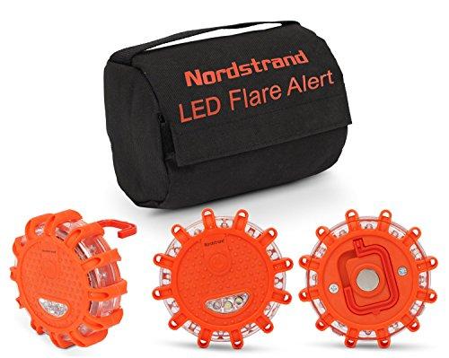 Preisvergleich Produktbild Nordstrand LED Notfall Warnblitzer KFZ LKW Blinklicht Warnsignal Pannenhilfe Warnleuchte - Magnetfuß - Aufbewahrungstasche - Regenfest Bernstein
