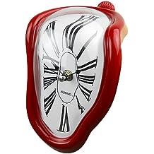 Jedfild Personalità creativa orologio pensile soggiorno studio orologio da parete Orologio a campana di quarzo Orologio silenzioso orologio orologio orologio da tavolo, 8 pollici (diametro 20 cm), Roma rosso scuro