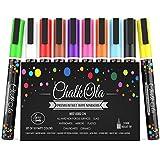 Chalkola - Lot de 10 feutres marqueurs de couleur fluo à pointe ogive de 3 mm - À utiliser sur tableau blanc/tableau noir/fenêtre