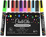 Chalk Pens - Pack of 10 neon colour markers - Use on Whiteboard, Chalkboard, Window, Blackboard - 3 mm Bullet Tip