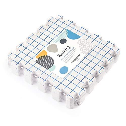 KnitIQ Spannunterlagen Zusatz-Kit für Stricken Häkeln Lace - 3 extra dicke Zusatz-Spannmatten mit Rasterlinien zum Erweitern der Spannunterlage für größere Strick -