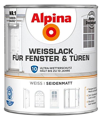Preisvergleich Produktbild ALPINA Weißlack für Fenster und Türen 2 Liter Farbe Weiss Seidenmatt