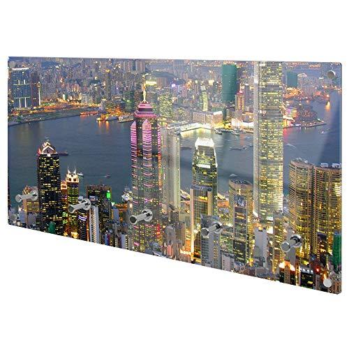 banjado Wandgarderobe aus Echtglas | Design Garderobe 80x40x6cm groß | Paneel mit 5 Haken | Flurgarderobe für Jacken und Mäntel | Garderobenleiste mit Motiv Hongkong
