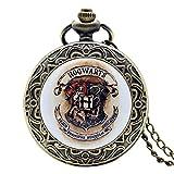 Harry Potter Hogwarts Reloj de Bolsillo para Hombre, Bronce,Hogwarts H, Reloj de Bolsillo de Cuarzo, Collar para Hombres y niños